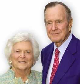 George & Barbara Bush (former US President and First Lady). George Bush is no longer the president but he remains very active in politics.
