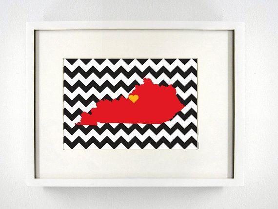 Louisville Kentucky State Giclée Print 8x10 Red By