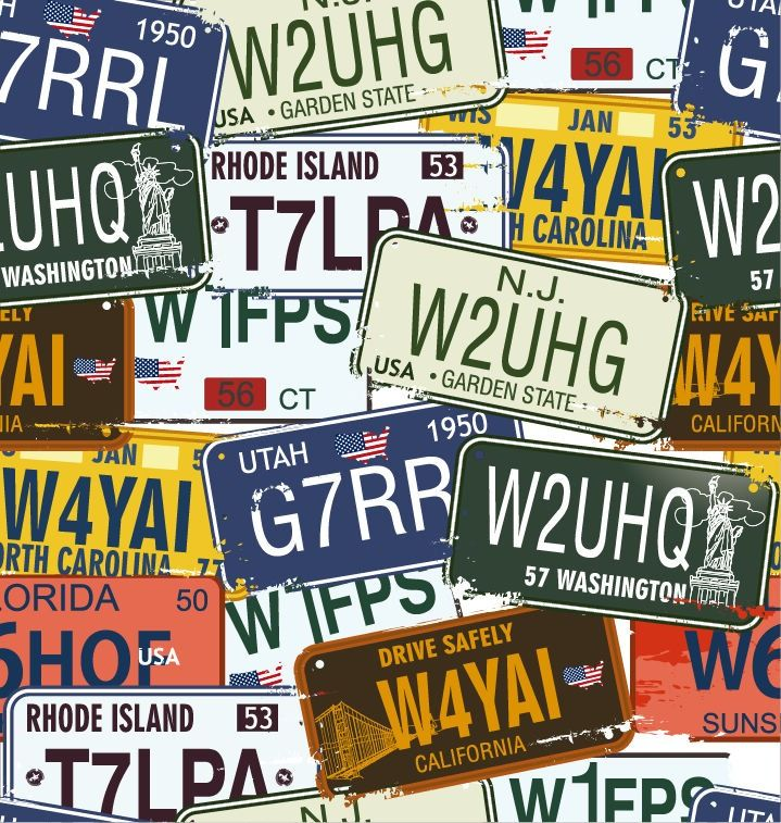vintage+auto+license+plates | Name: Vintage License Plates Vector ...