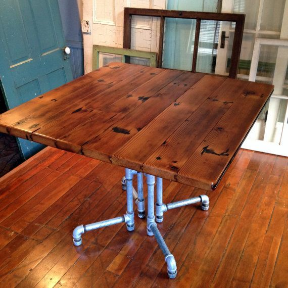 Reclaimed Barnwood Dining Table, Galvanized Pipe, Tongue U0026 Groove Planks,  Natural Oil Finish, Old Growth Reclaimed Barn Wood