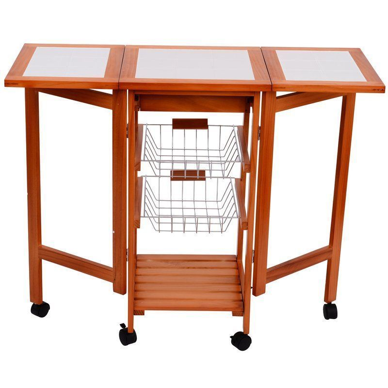 Mobile Kitchen Trolley Solid Pine Wood Cart Kitchen Dining Room Captivating Rolling Kitchen Chairs Review