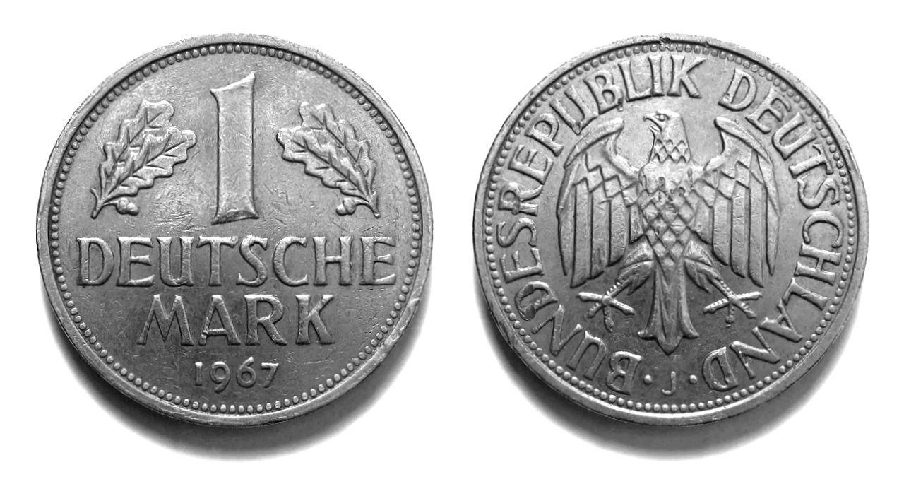 1 D Mark Munze Vorderseite Links Ruckseite Rechts Deutsche