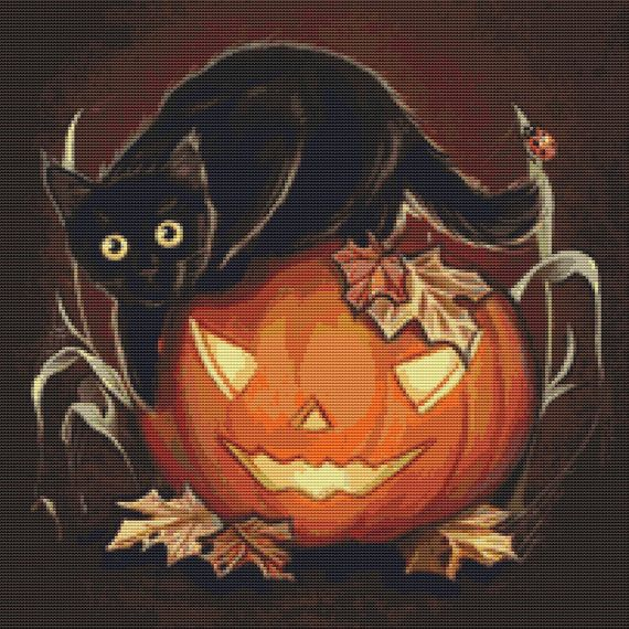 Cat Cross Stitch Kit Kitt By Anna Marine Halloween by GeckoRouge, $76.00