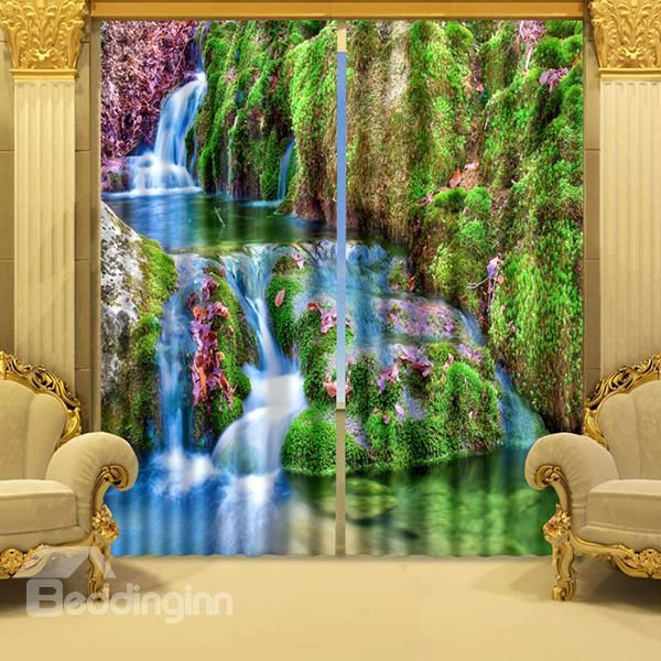 Scenery Curtains 3d mountain stream and trees printed wonderful scenery polyester