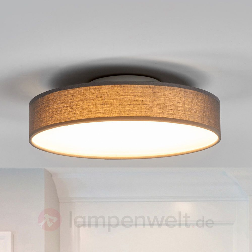 LED Deckenleuchte Saira Grau Rund Deckenlampe Stoff Textil