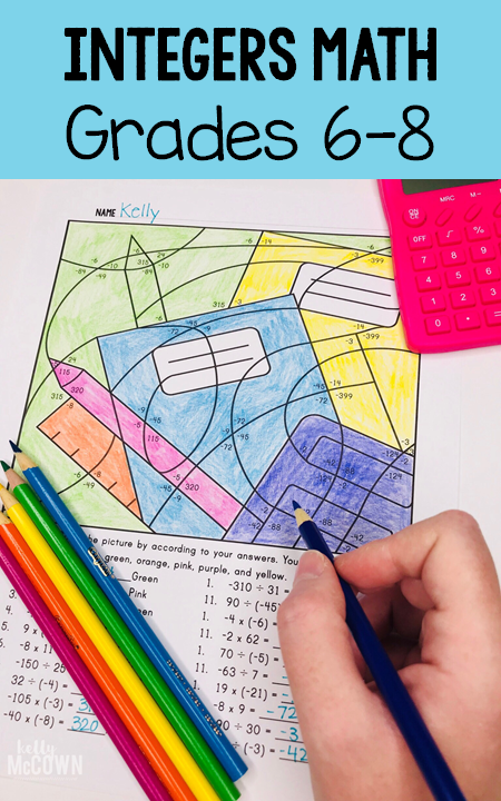 Integers Coloring Pages For Grades 6 7 8 Review Integer Skills With Addition Subt Maths Activities Middle School Middle School Math Classroom Math Integers