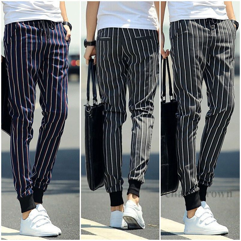 0f717639b8 New Korean Men Slim Feet Harem Pants Fashion Striped Pants Casual Boys  Trousers | Clothing, Shoes & Accessories, Men's Clothing, Pants | eBay!