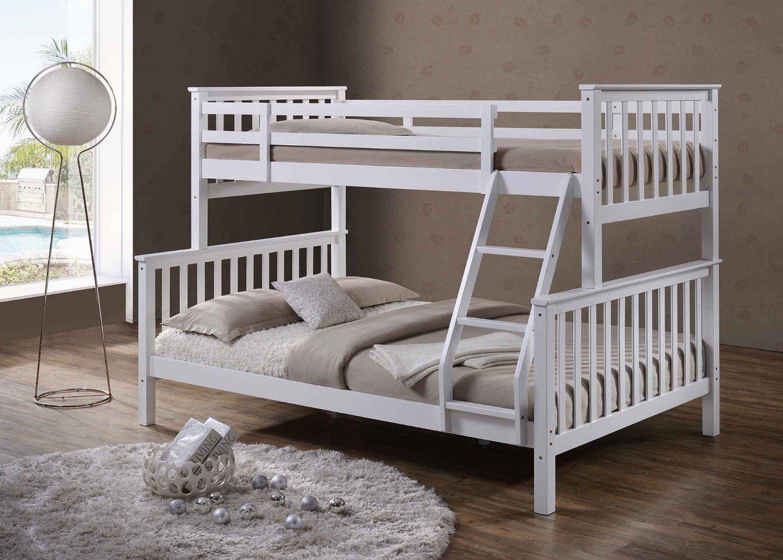Oscar \'Blanco Sólido de madera de pino Triple cama litera cama-solo ...