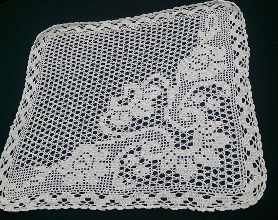 Large White Square Vintage Lace Doily or Table Runner. Filet Crochet White Cotton Lace Doily. RBT0287