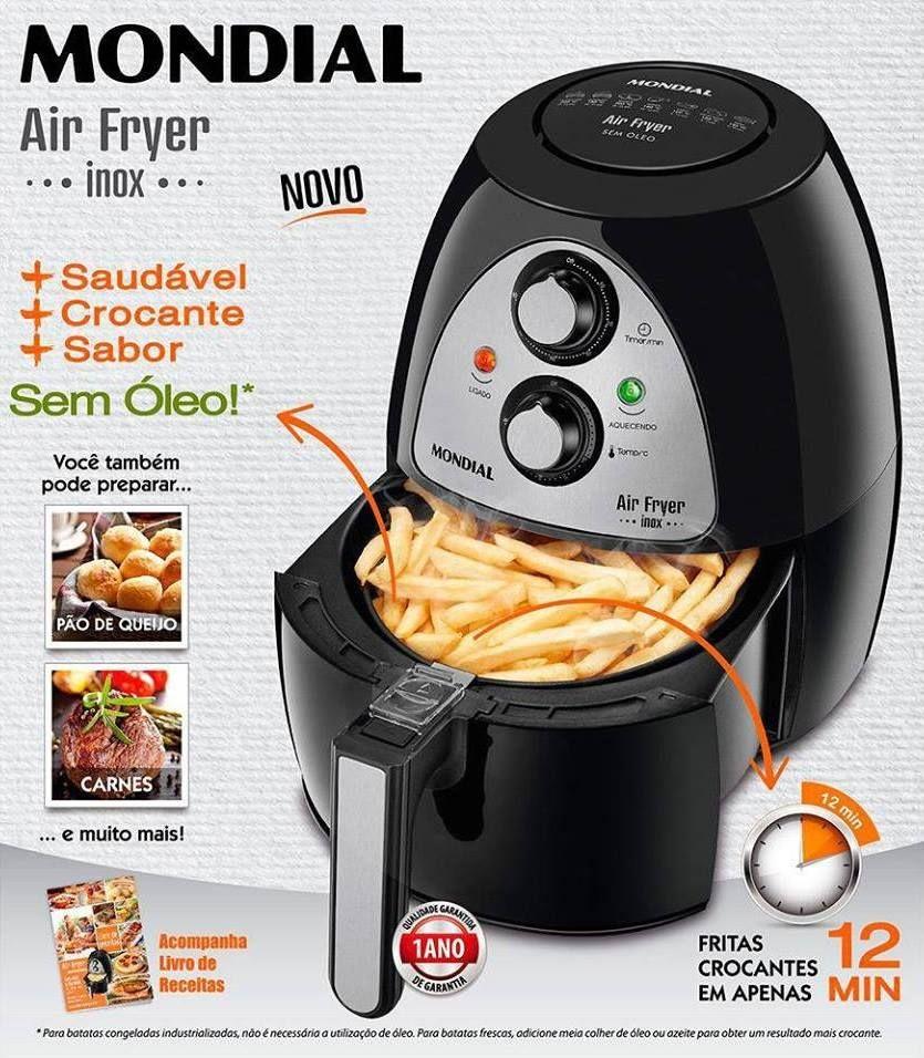 Fritadeira Sem Oleo Mondial Air Fryer Naf 03i 2 2 Litros Inox