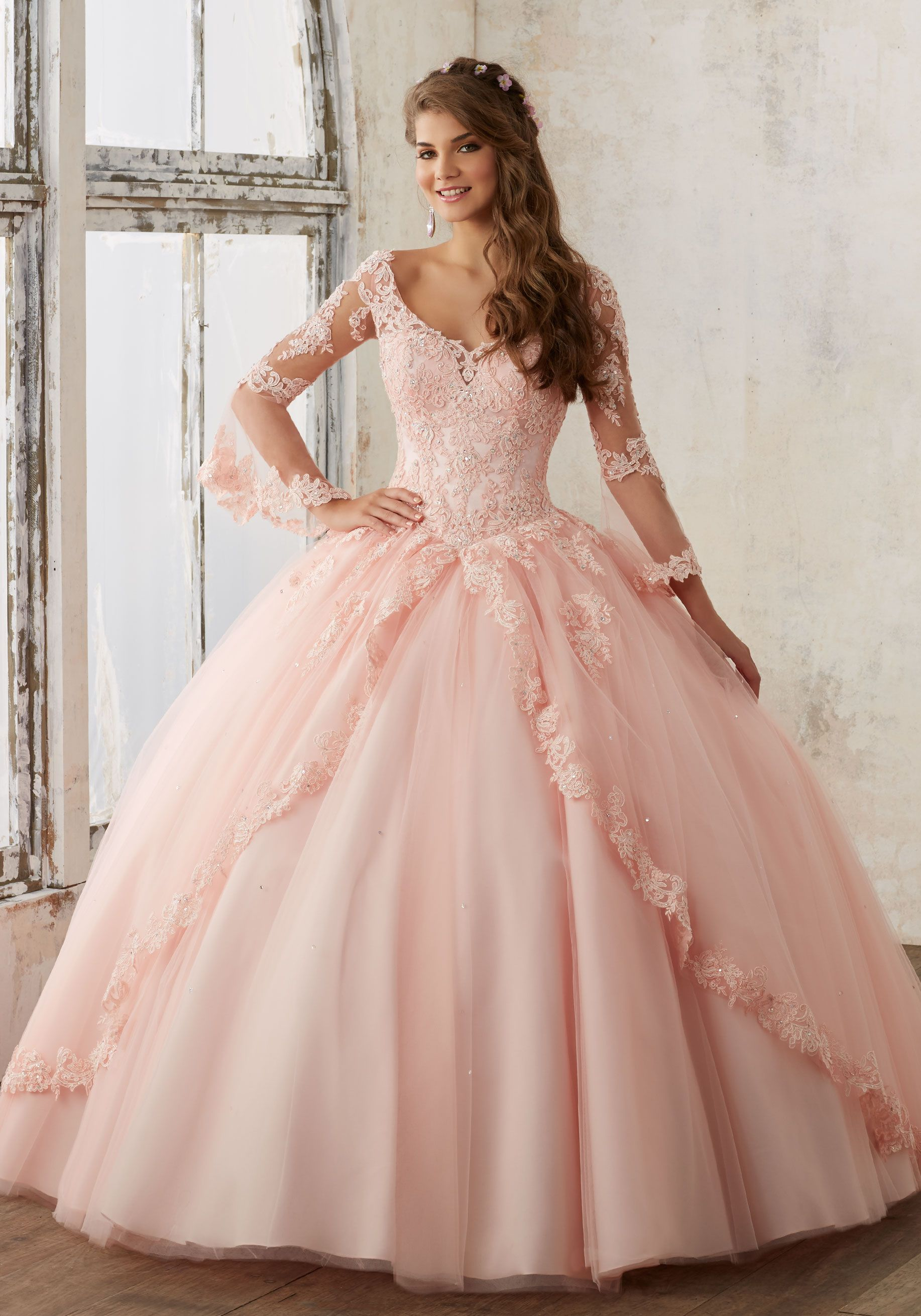 Beaded Lace on a Princess Tulle Quinceañera Ball Gown  b73484f35e32
