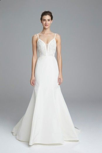 Trendy  Britt Faille de Soie slim fit to flare bridal gown with sheer silk