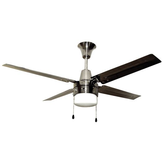 Features Include White Shade To Cover Bulb No Cover Plate For Light Motor Finish Brushed Chrome Ceiling Fan Ceiling Fan With Light Modern Ceiling Fan
