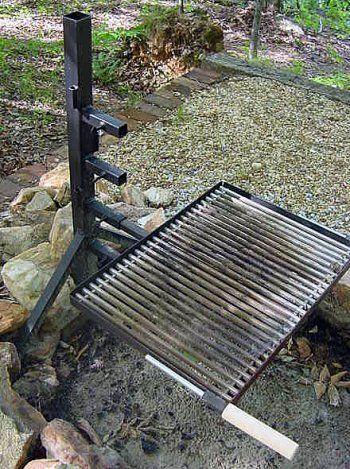 Campfire Grill Stand Campin Chemin 233 E Barbecue Bois De