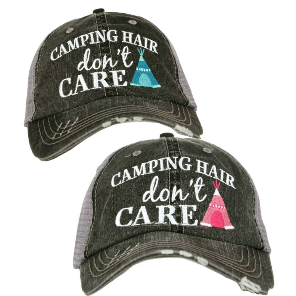 d8d68d47359 Distressed Trucker Hat - Camping Hair Don't Care -Custom Trucker Cap - Trucker  Hat - Baseball Cap - Embroidered Trucker - Snapback Hat - by ...