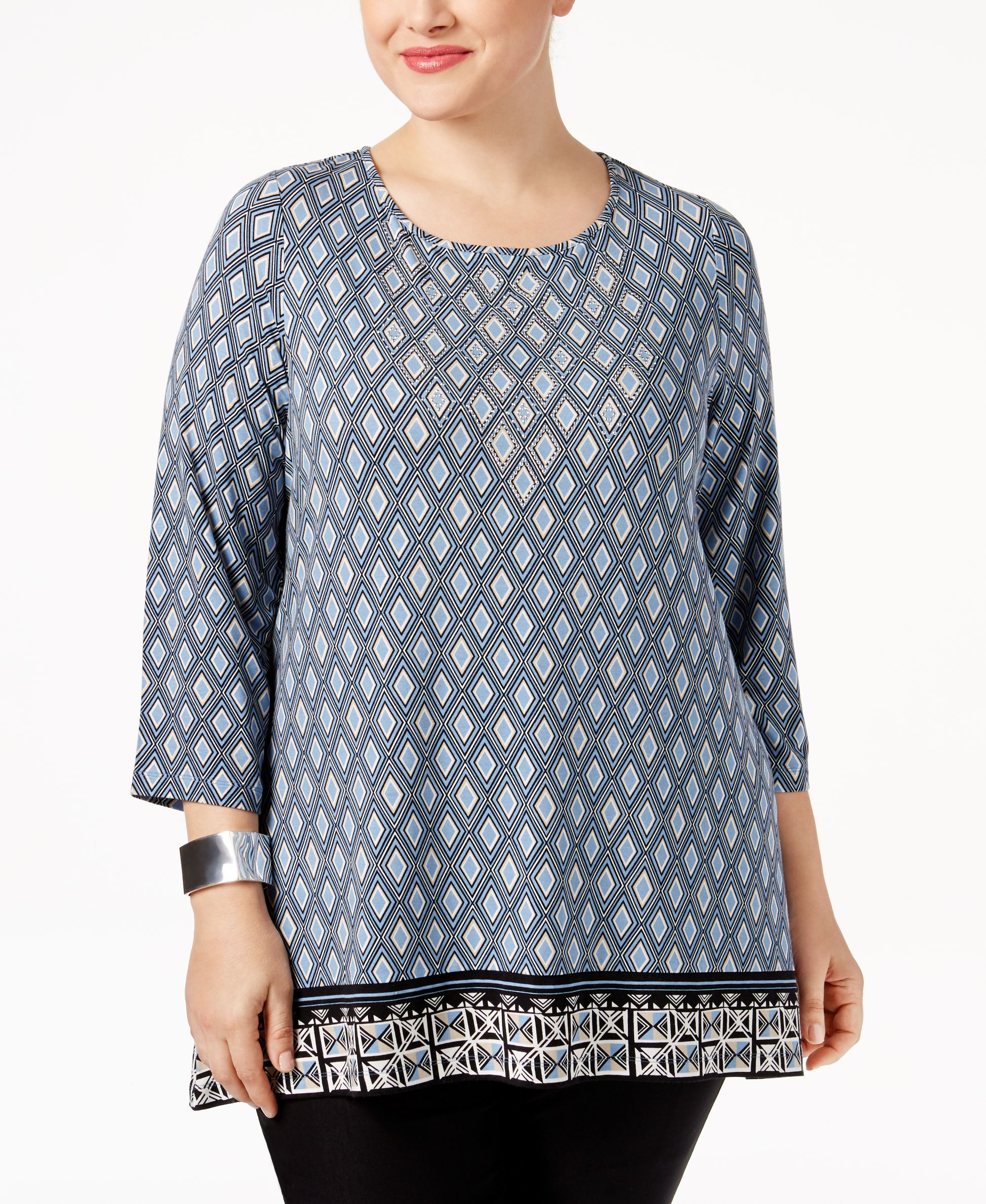 Jm Collection Plus Size Rhinestone Printed Top, Only at Macy's