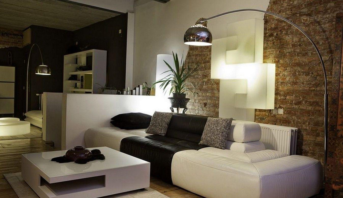 Brick Wall Living Room Night Rendering 1348x780 Pixels