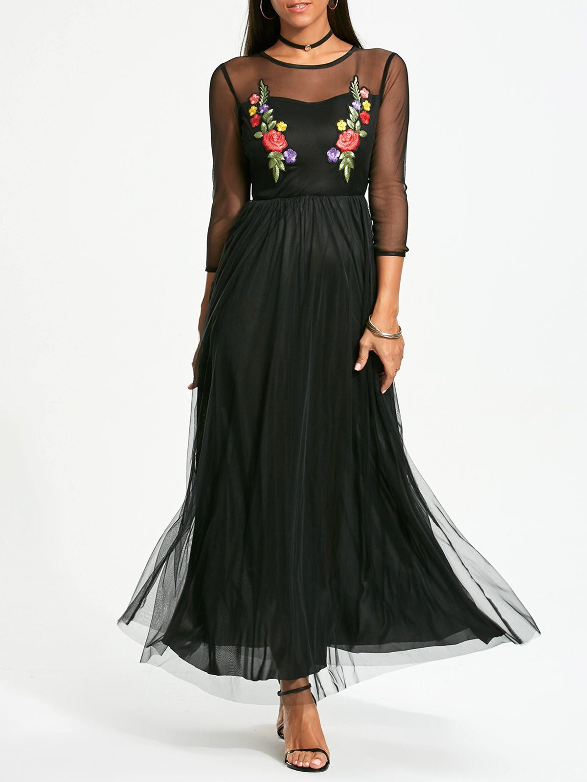 Long sleeve flower embroidery maxi yarn dress black xl