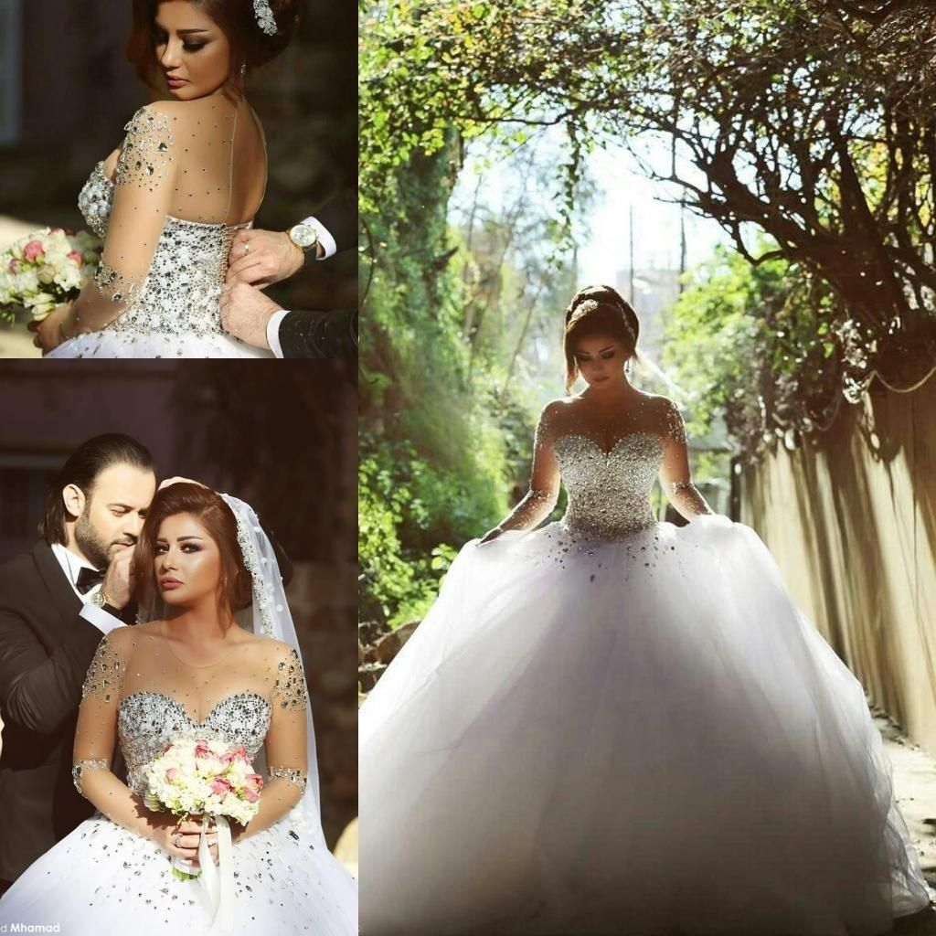 Wedding dresses with rhinestones   Long Sleeve Ball Gown Wedding Dresses with Rhinestones Crystals
