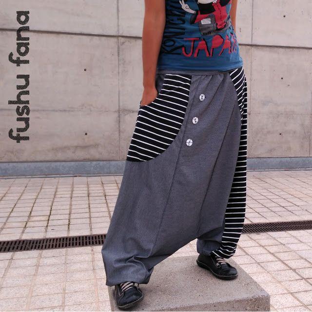 d2f5a48182 FushuFana  Pantalón cagado (enlace a patrón gratis)   Sarouel (link to free  pattern)