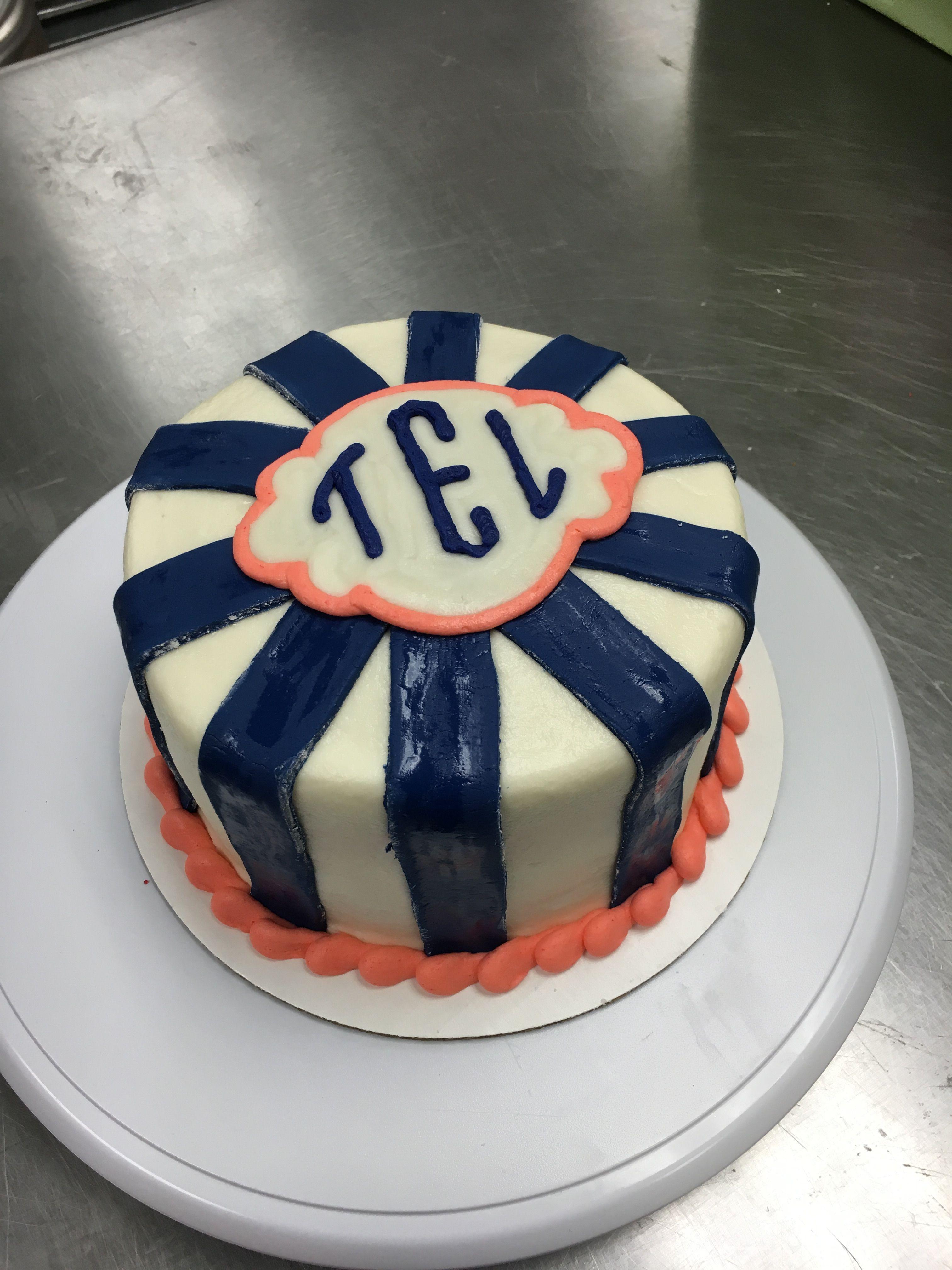 Monogram stripe cake