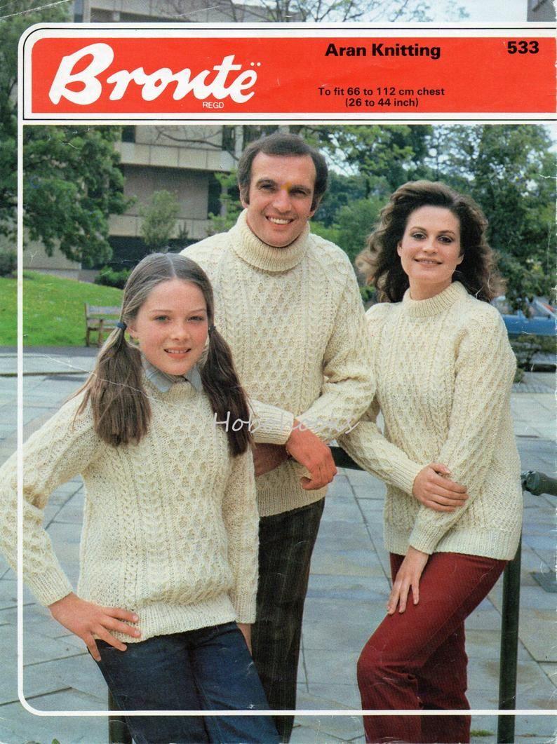 e06b32553 vintage aran sweater knitting pattern pdf cable jumper adult ...