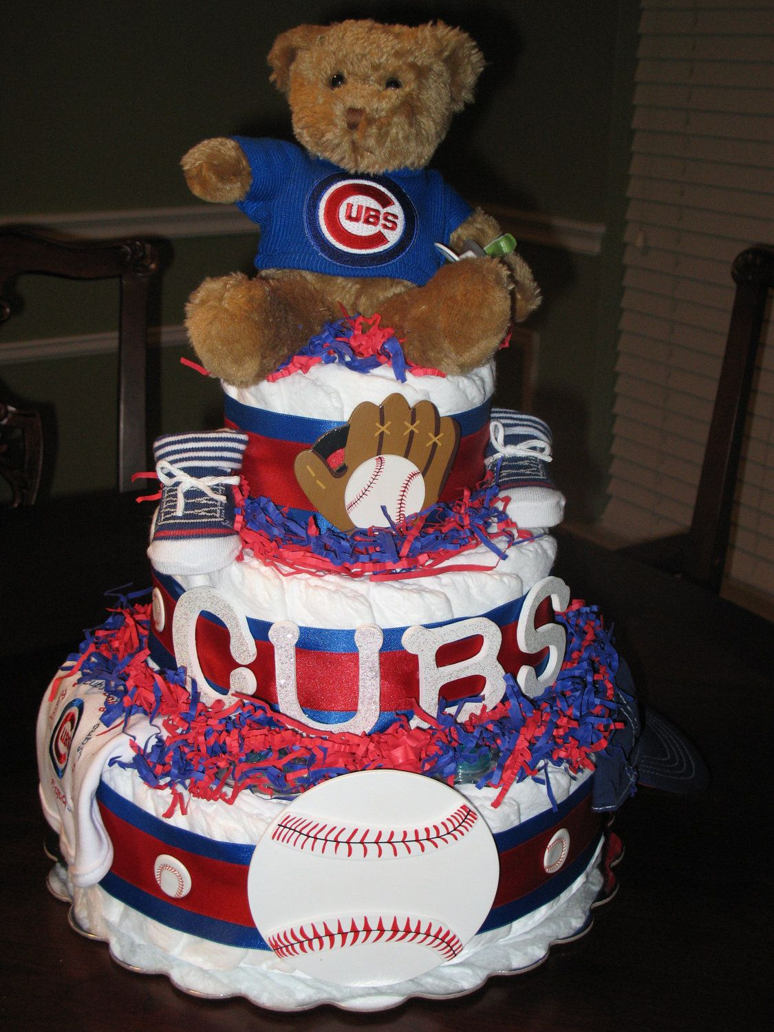 Chicago Cubs Baseball Diaper Cake By Lilybugcakesndesigns On Etsy