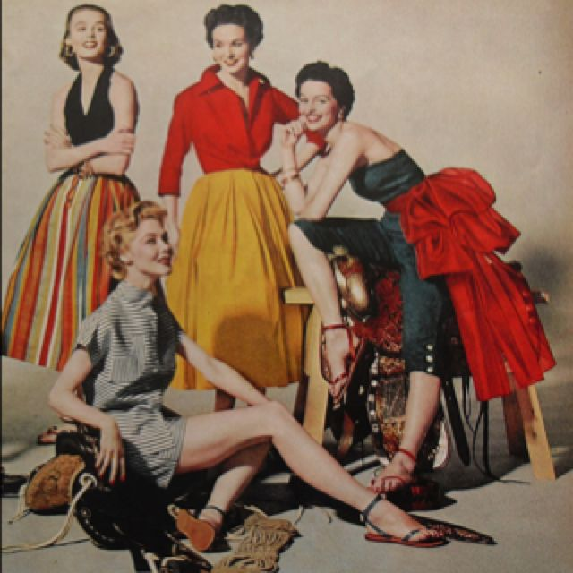 50s fashion-like the red blouse.