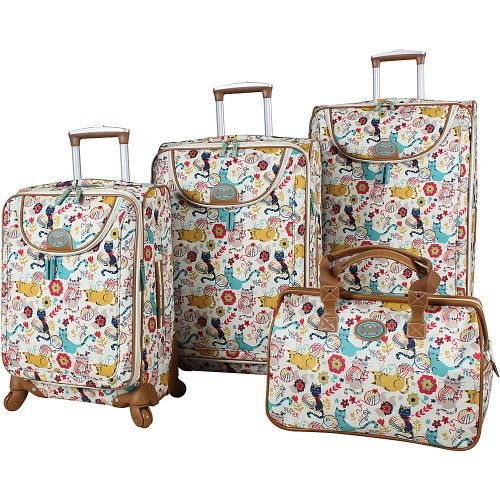 a22770559 Lily Bloom 4 piece spinner collection features a very unique biodegradable  lightweight cotton canvas exterior with vibrant signature design.