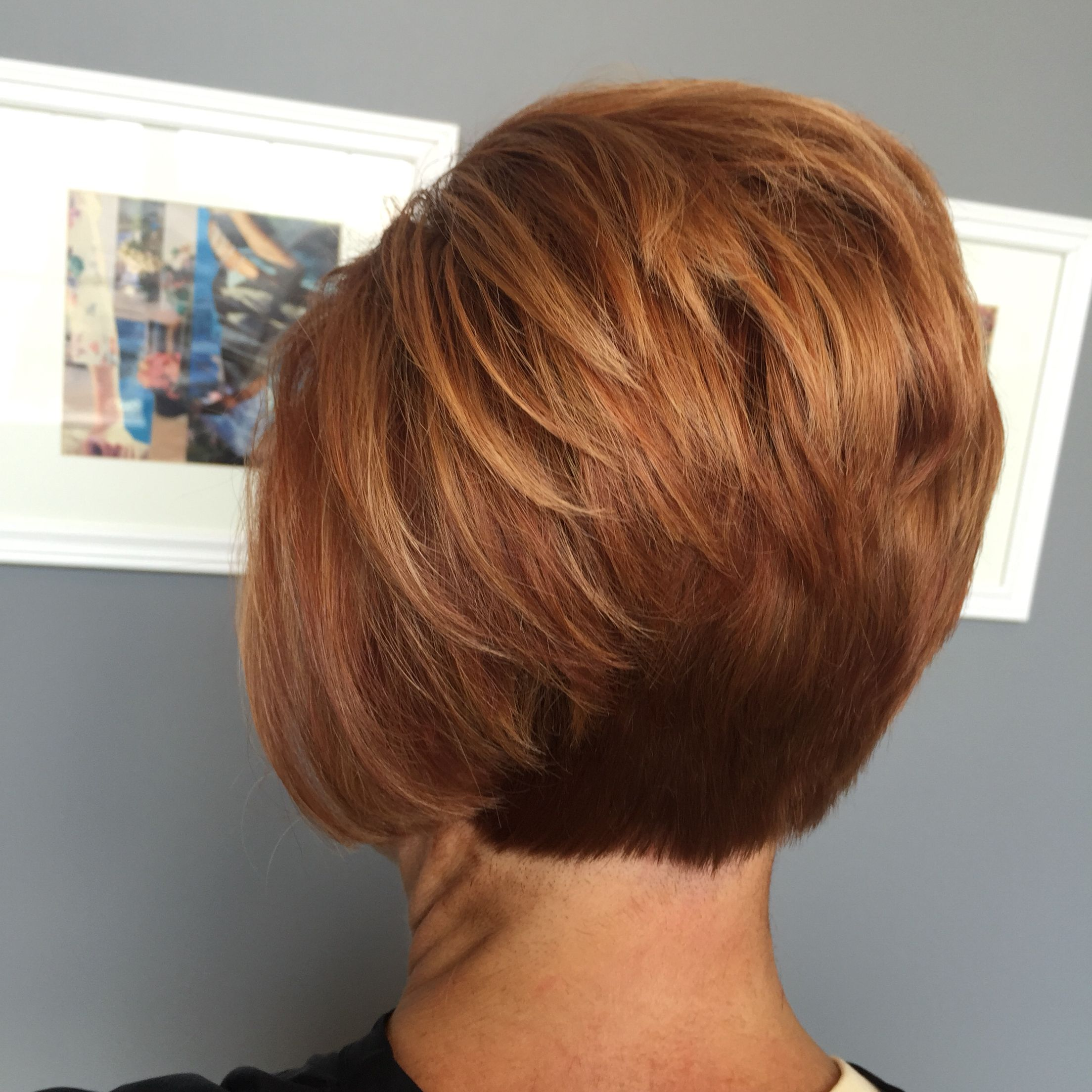 Short Red Stacked Bob Hair In 2018