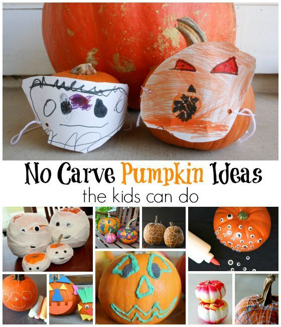 No Carve Pumpkin Ideas Simple Enough for Kids Pinterest Pumpkin - halloween decorations to make at home for kids