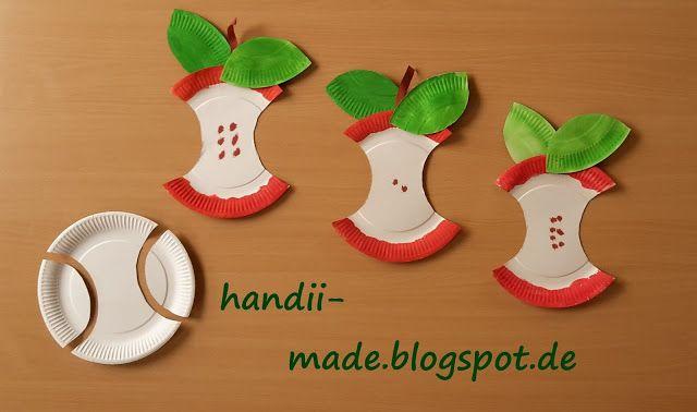 Handii made apfel aus papptellern handii made for Apfel basteln herbst