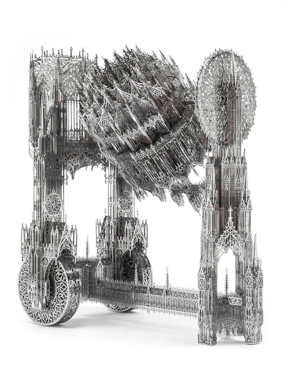 Wim Delvoye, Concrete Mixer (scale model), 2013. Laser-cut stainless steel.