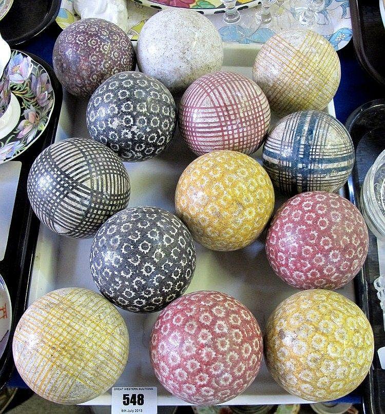 Thirteen Scottish Pottery Carpet Bowls Carpet Bowls Pottery Antique Pottery