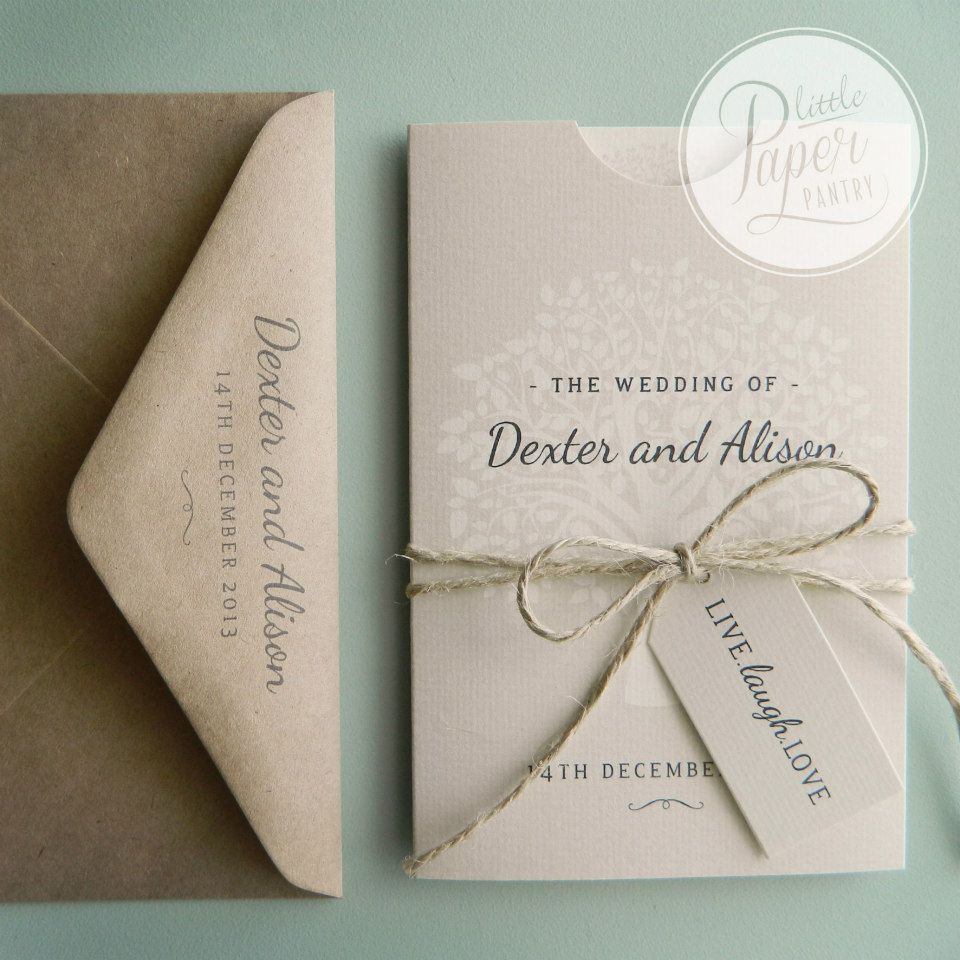 Bakers Twine Wedding Invitation: A6 Pocket Invite And Wedding Map With A Tree Of Life