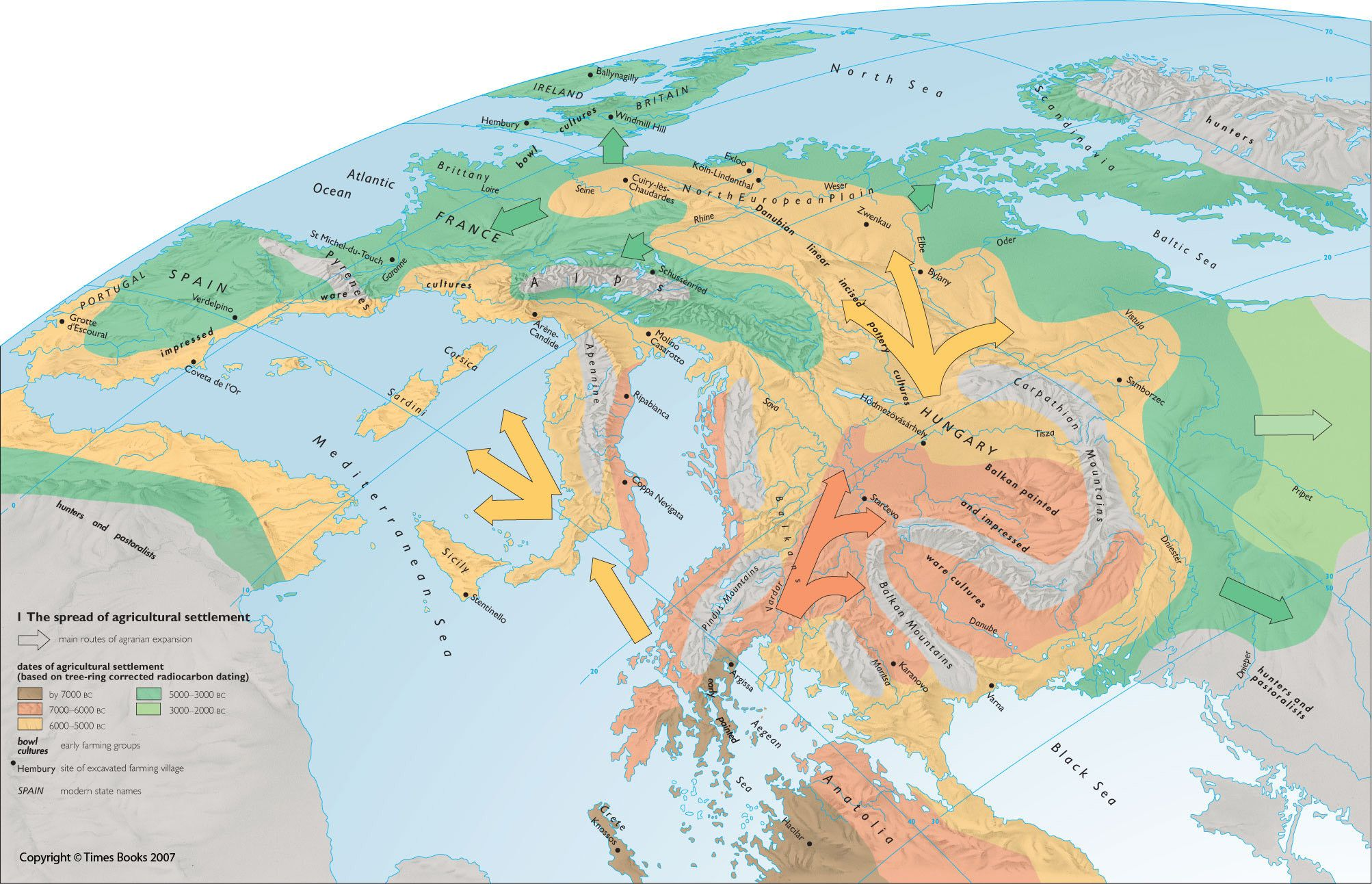World Map 2000 Bc.Main Routes Of Agrarian Expansion Into Europe 7000 Bc To 2000 Bc