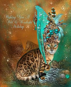 Mixed Media - Cat In The Leopard Trim Santa Hat by Carol Cavalaris
