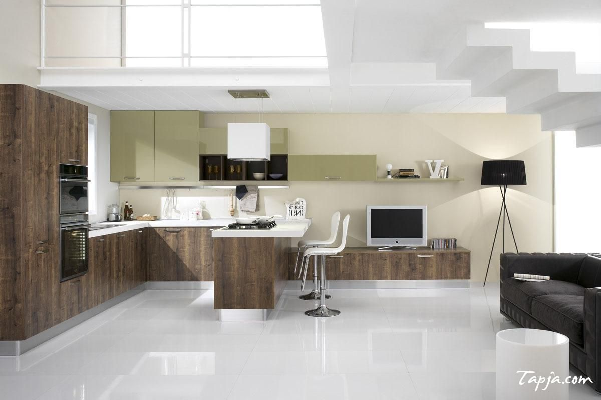 Contemporary Italian Modern Kitchen Design With Wooden Cabinet Kitchen And Granite Counetrtop Backsplash Along With Bar Stools Idea And Green Cabinet On The ... & Contemporary Italian Modern Kitchen Design With Wooden Cabinet ... islam-shia.org