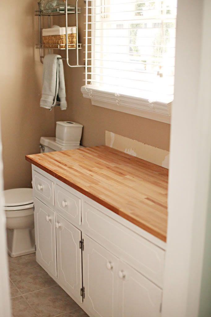 bathroom countertops what about using this ikea butcher block