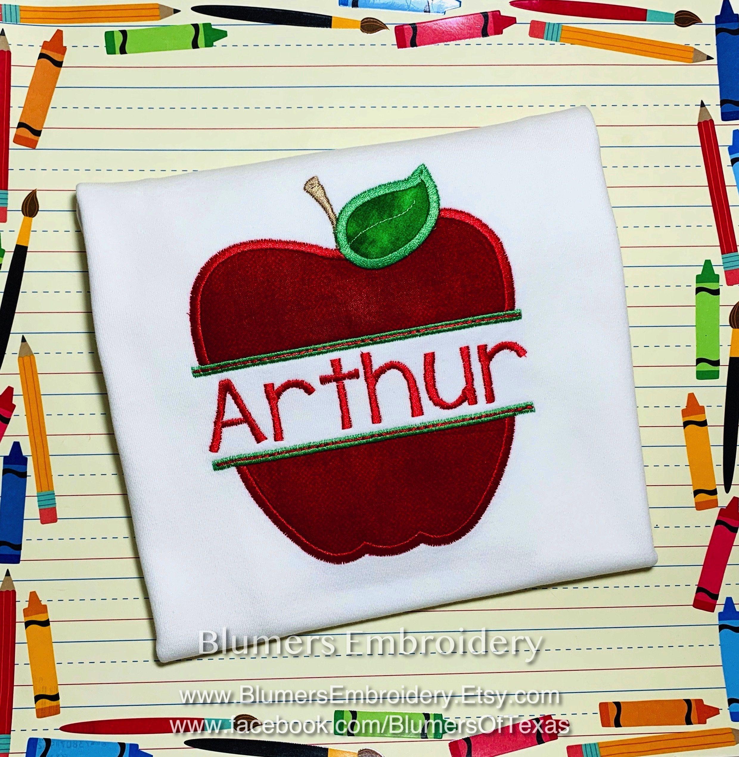 Back To School Apple Applique Monogrammed T Shirt, Custom ...