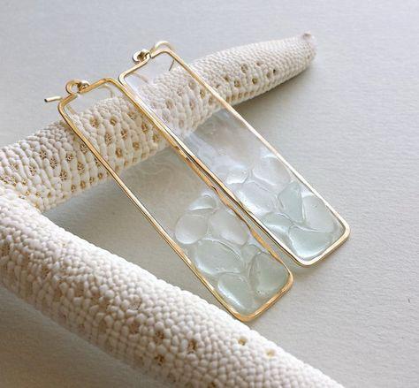 Photo of Rectangle Beach Glass Earrings Aqua Sea Glass Drops Long | Etsy