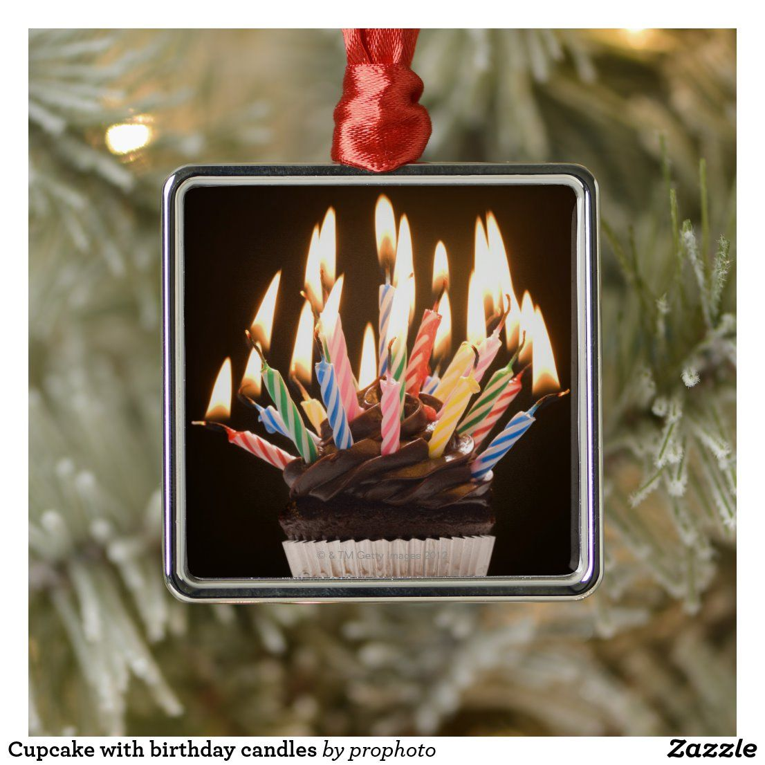 Cupcake with birthday candles metal ornament