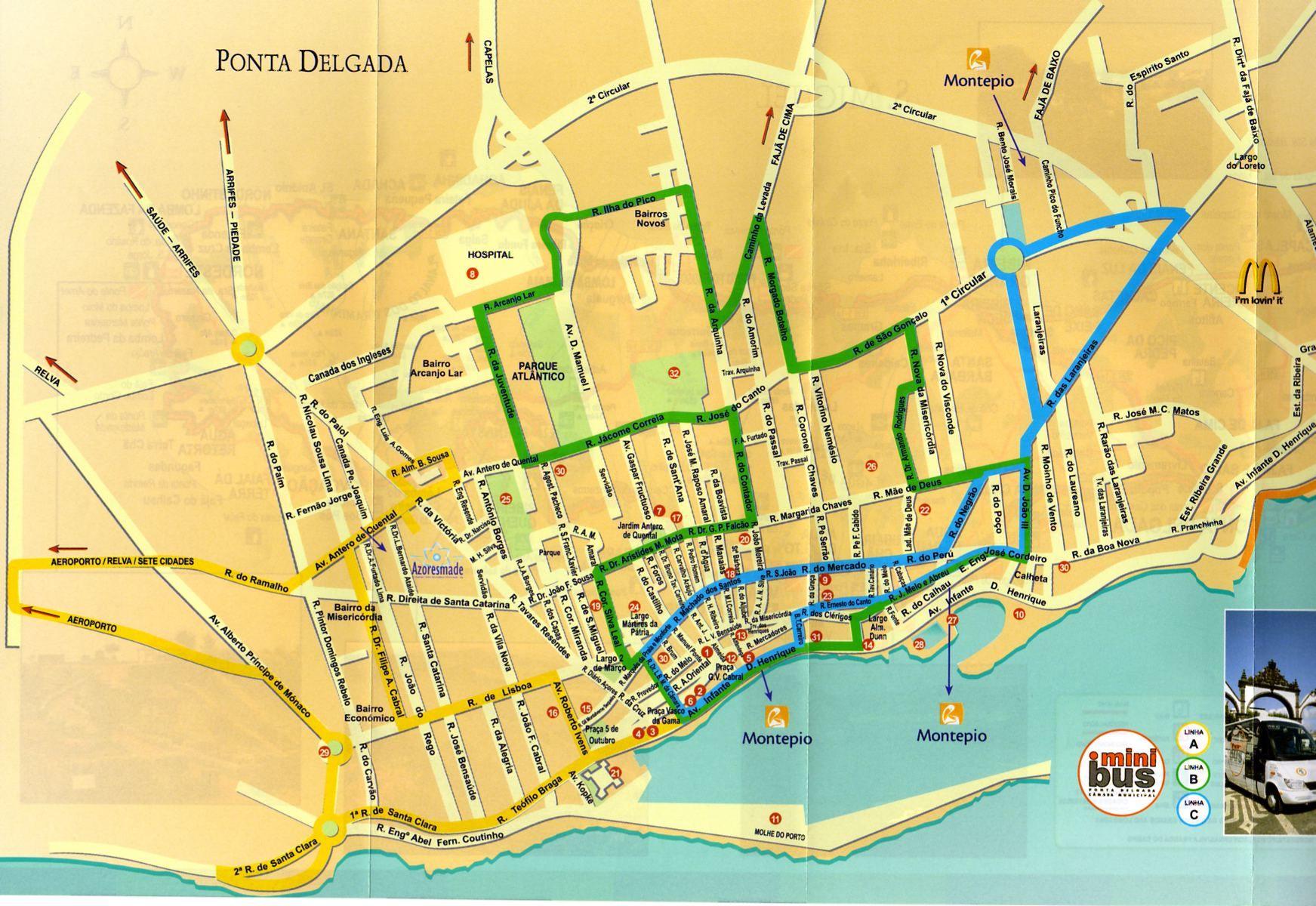 Ponta Delgada Azores Mini Bus Route Azores