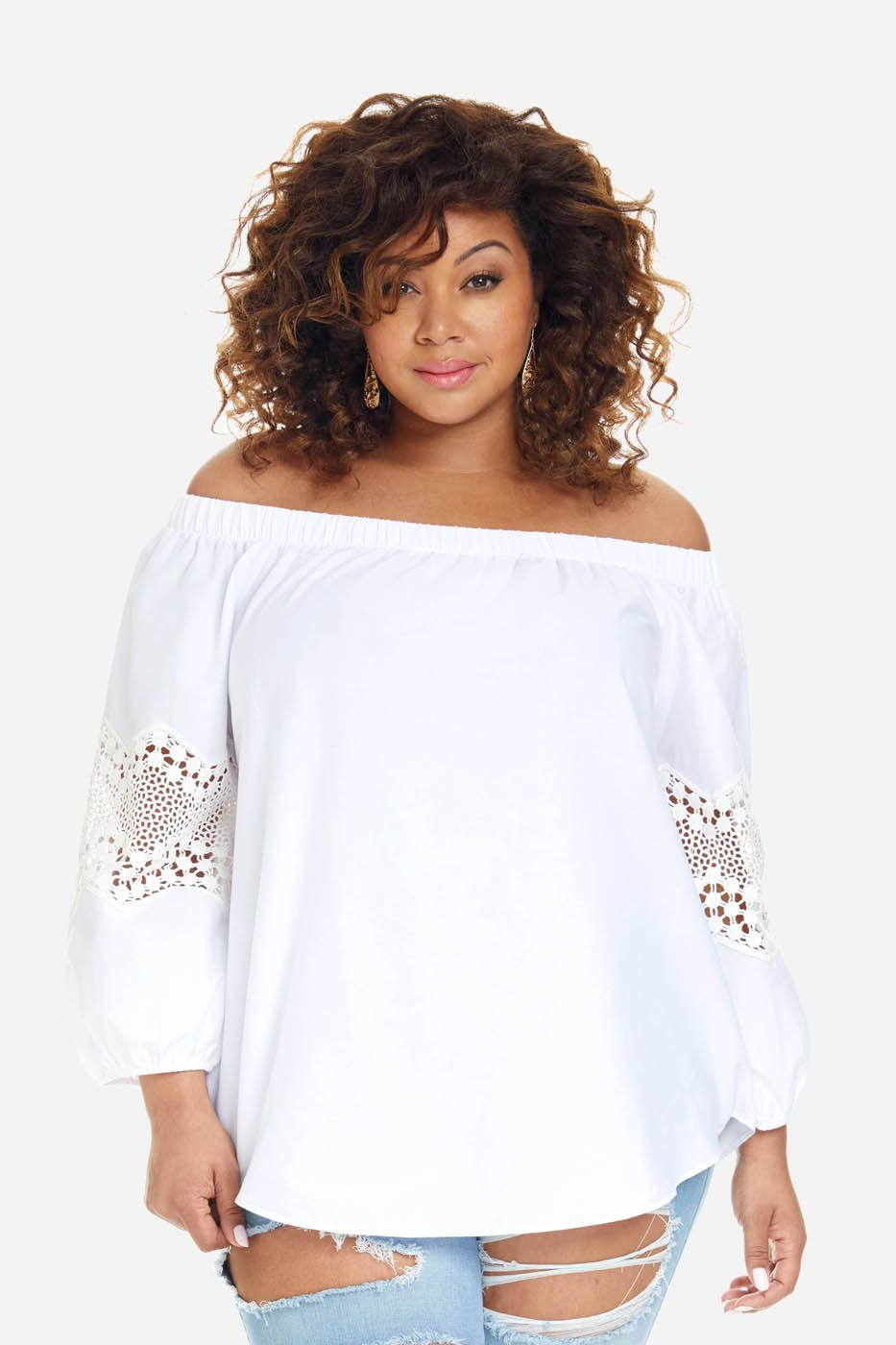 317f7e08113f Plus Size Lily Off Shoulder Crochet Sleeve Top   Dressing style ...