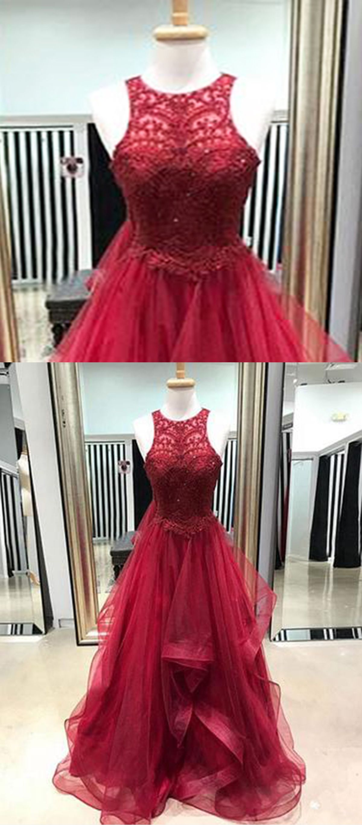 Burgundy lace scoop neck long ruffles tulle evening dress prom