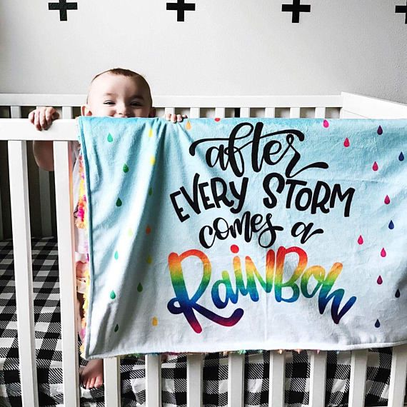 After Every Storm Adoption boy or girl IVF Personalised Rainbow Baby Blanket