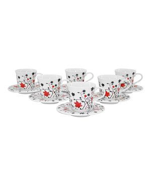 Love this Black & Red Floral Teacup & Saucer - Set of Six by Three Star on #zulily! #zulilyfinds