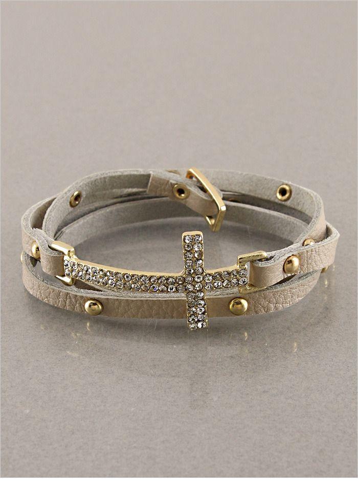 Crystal Cross Wrap Around Bracelet