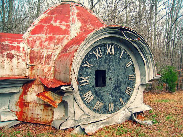 The remains of an old clock tower in Lawrenceburg, Tennessee.