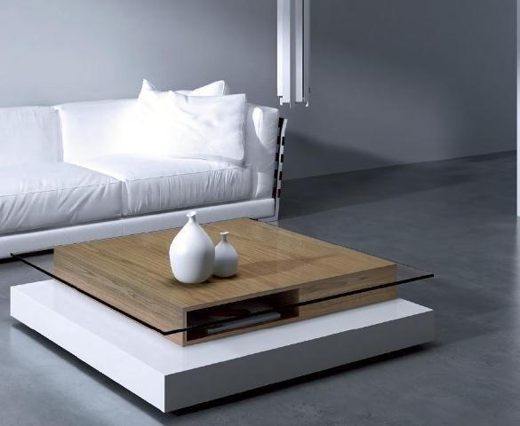 Moderna mesa de centro con cristal y madera  Muebles